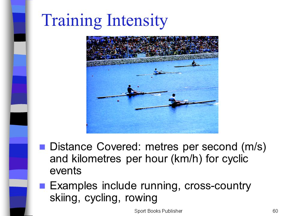 Sport Books Publisher60 Training Intensity Distance Covered: metres per second (m/s) and kilometres per hour (km/h) for cyclic events Examples include