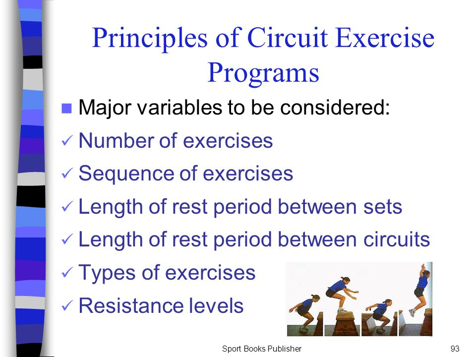 Sport Books Publisher93 Principles of Circuit Exercise Programs Major variables to be considered: Number of exercises Sequence of exercises Length of