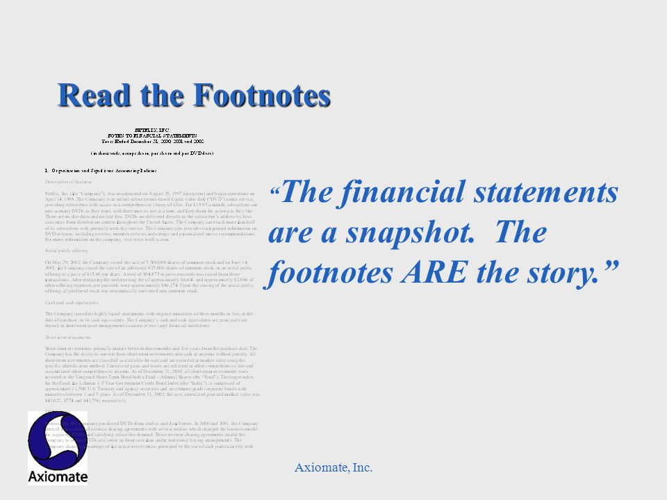 Axiomate, Inc. Read the Footnotes The financial statements are a snapshot.