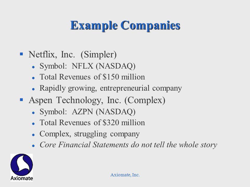Axiomate, Inc. Example Companies §Netflix, Inc.