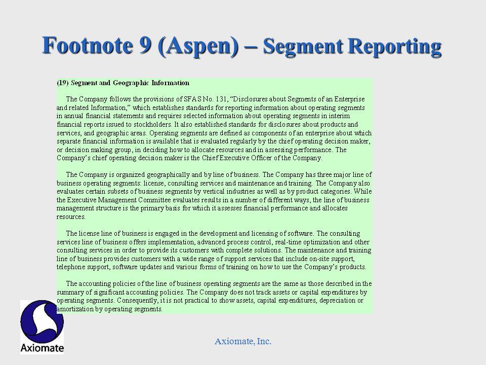 Axiomate, Inc. Footnote 9 (Aspen) – Segment Reporting