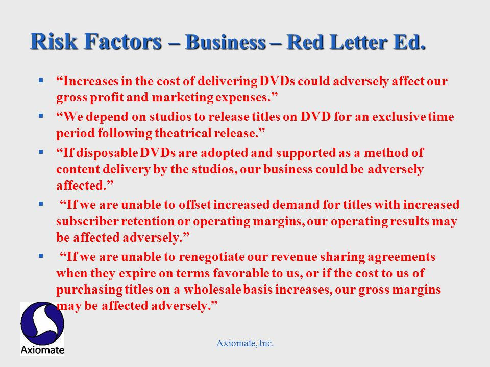 Axiomate, Inc. Risk Factors – Business – Red Letter Ed.