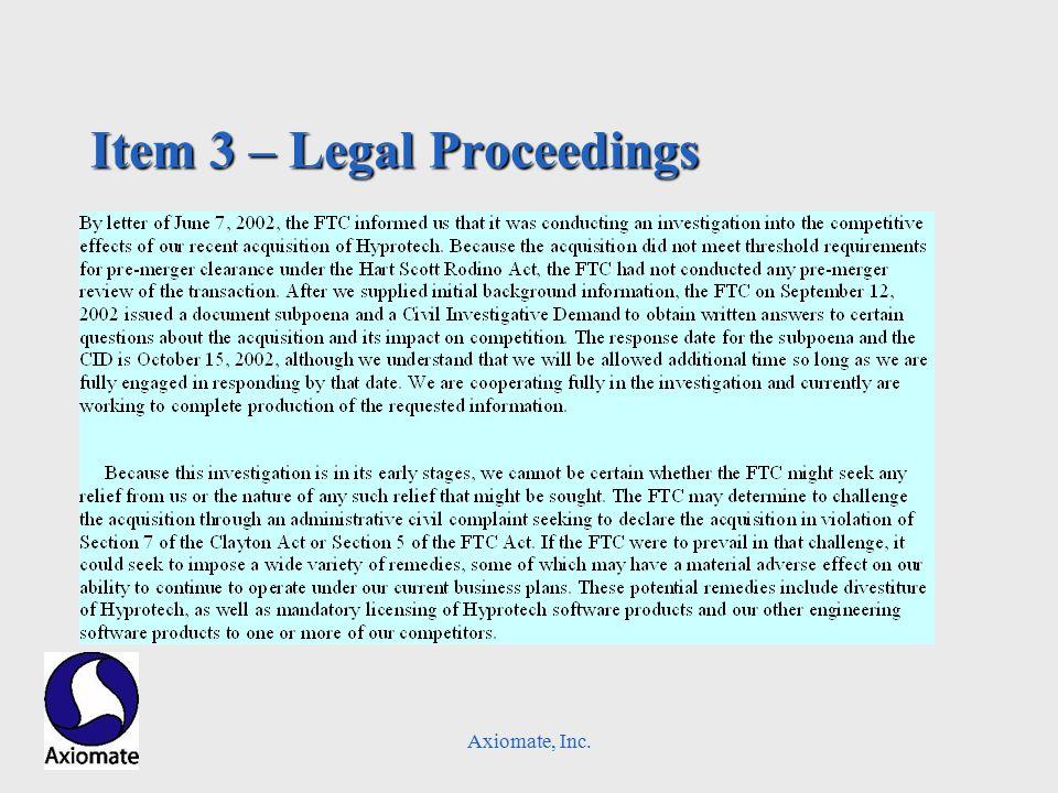 Axiomate, Inc. Item 3 – Legal Proceedings