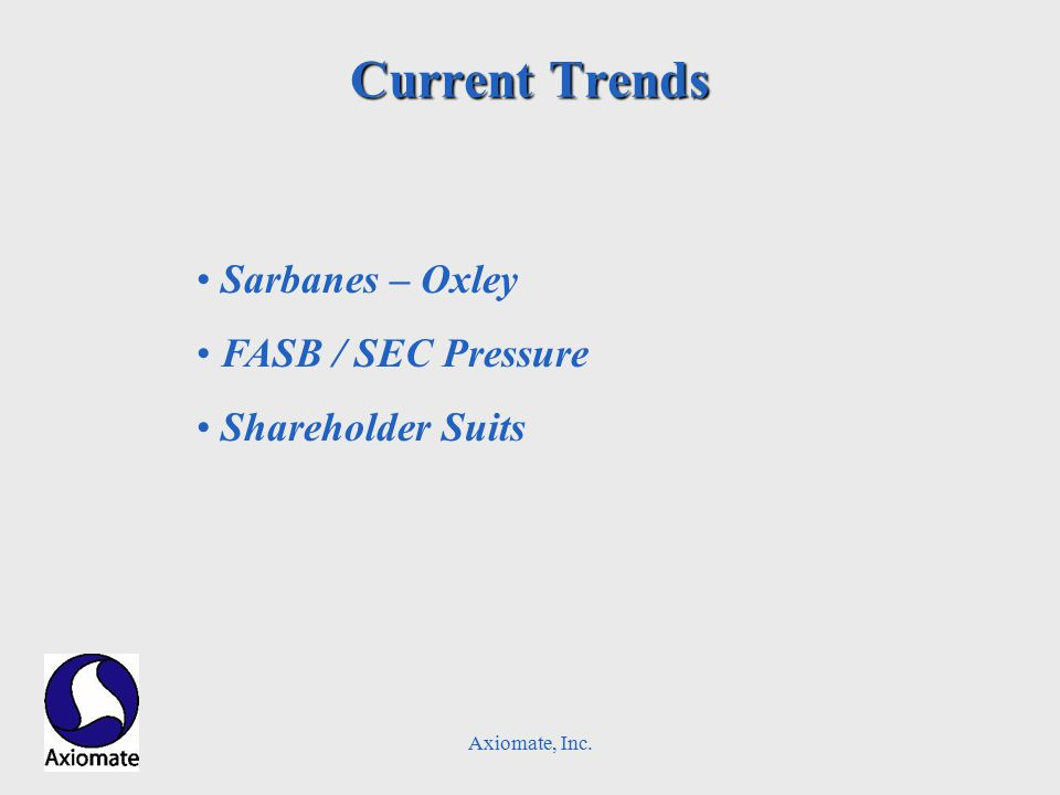 Current Trends Sarbanes – Oxley FASB / SEC Pressure Shareholder Suits