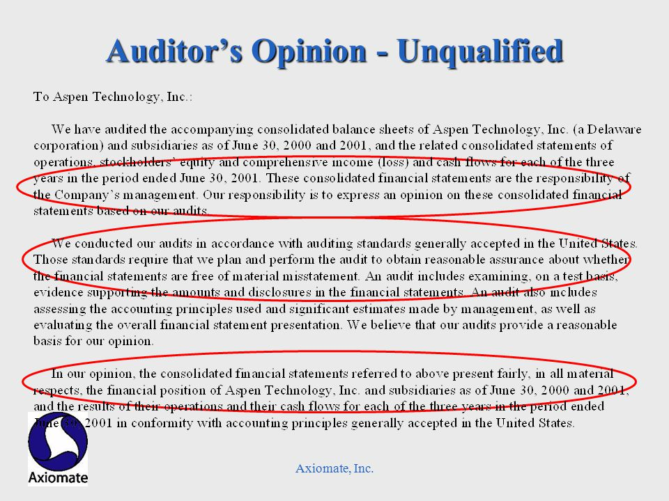 Axiomate, Inc. Auditor's Opinion - Unqualified