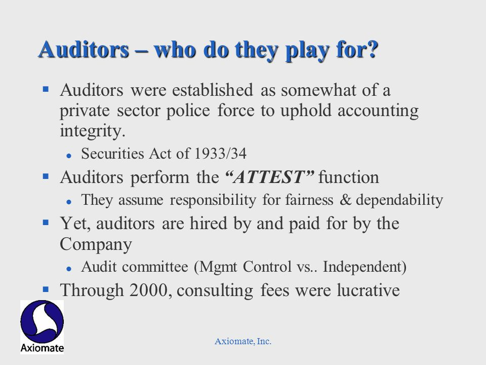 Axiomate, Inc. Auditors – who do they play for.
