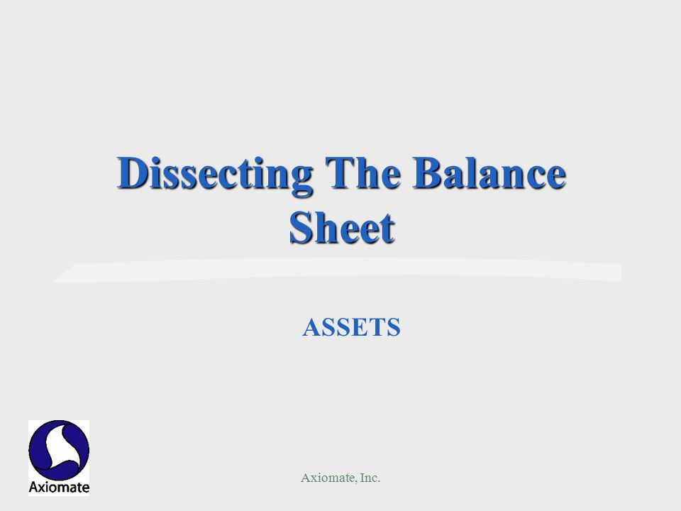 Axiomate, Inc. Dissecting The Balance Sheet ASSETS