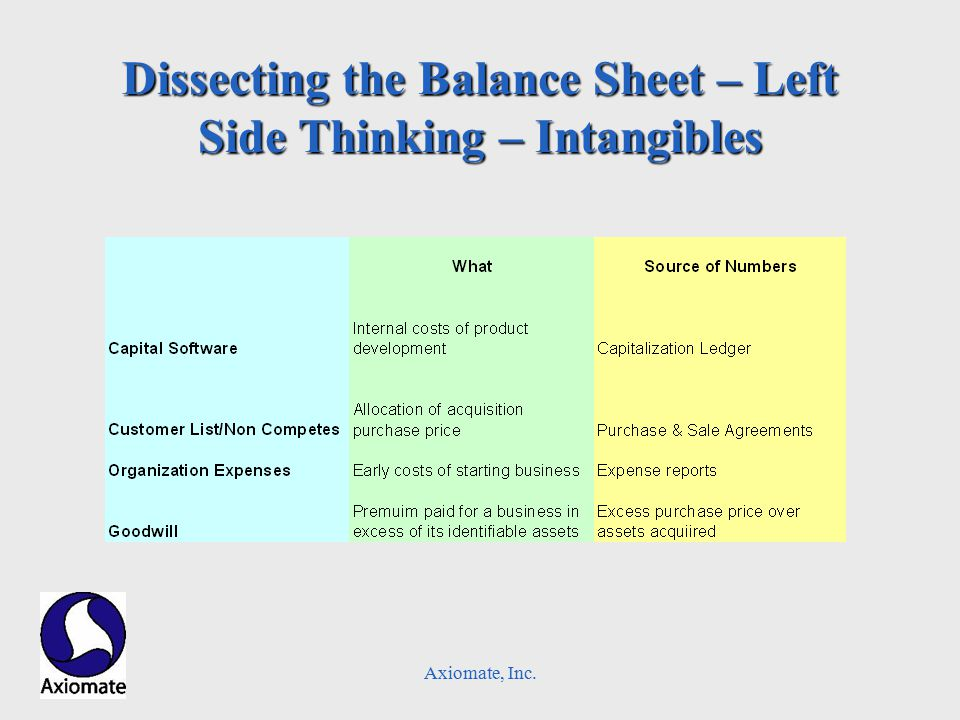 Axiomate, Inc. Dissecting the Balance Sheet – Left Side Thinking – Intangibles