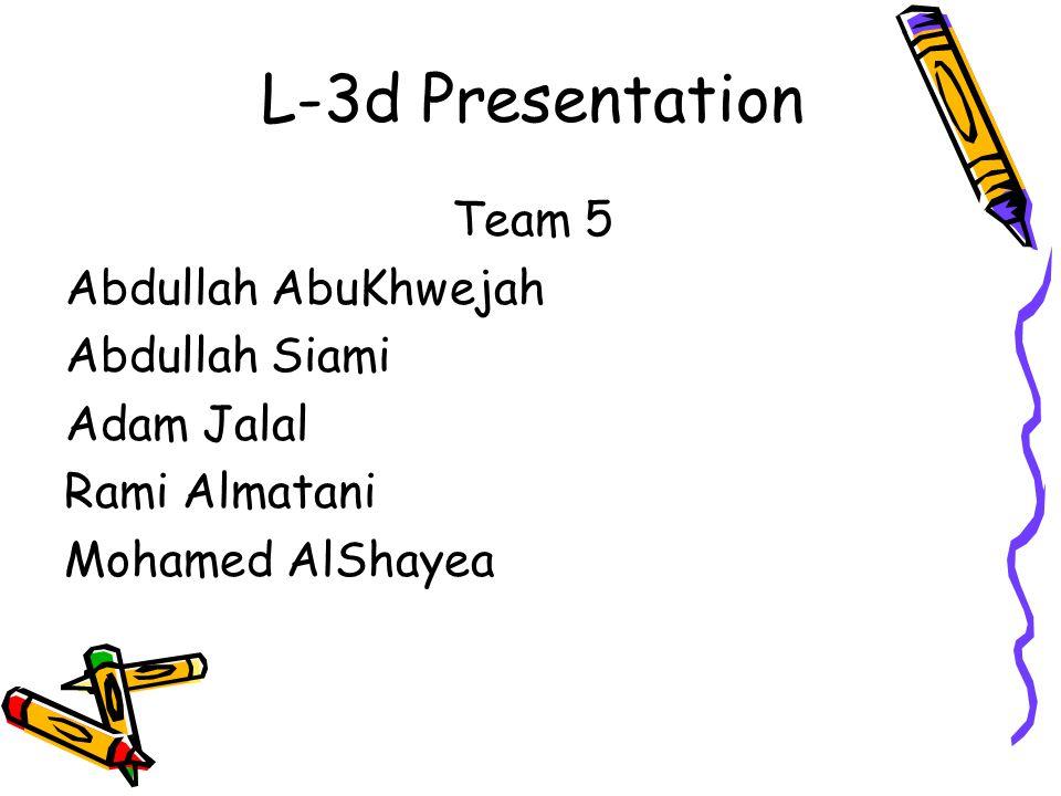 L-3d Presentation Team 5 Abdullah AbuKhwejah Abdullah Siami Adam Jalal Rami Almatani Mohamed AlShayea