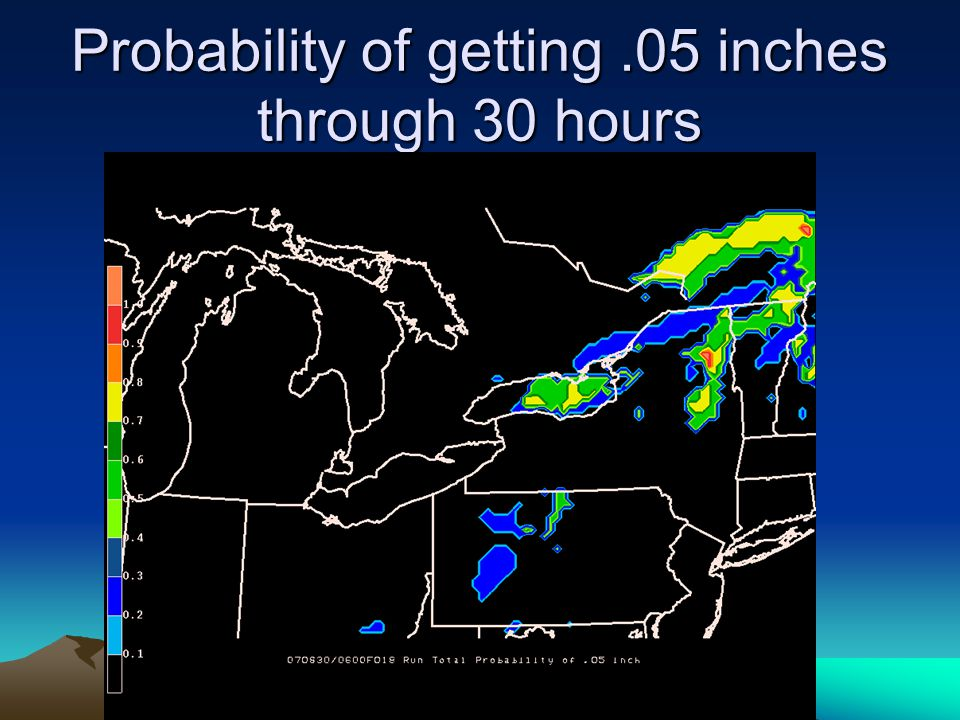 Probability of getting.05 inches through 30 hours