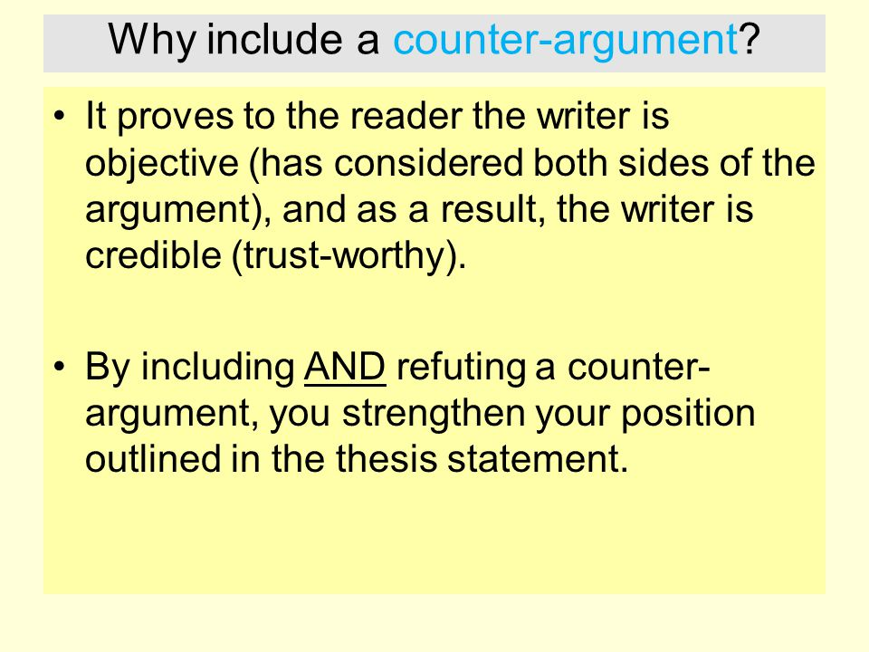 Why include a counter-argument.