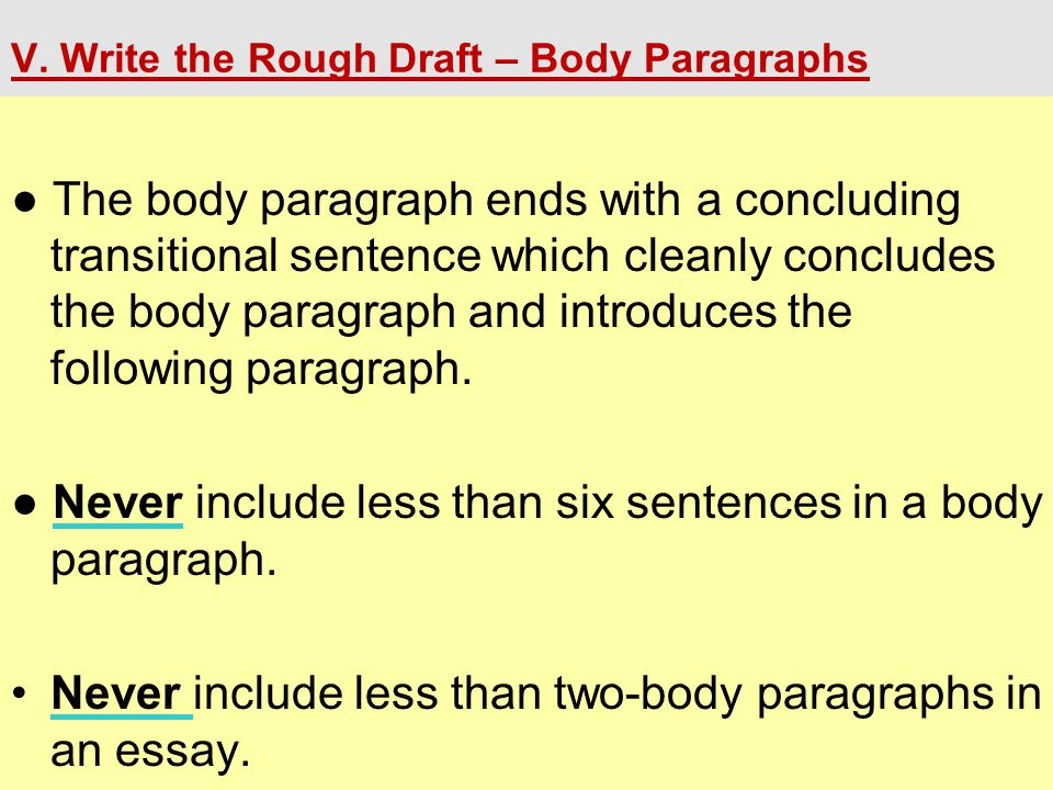 V. Write the Rough Draft – Body Paragraphs ● The body paragraph ends with a concluding transitional sentence which cleanly concludes the body paragrap