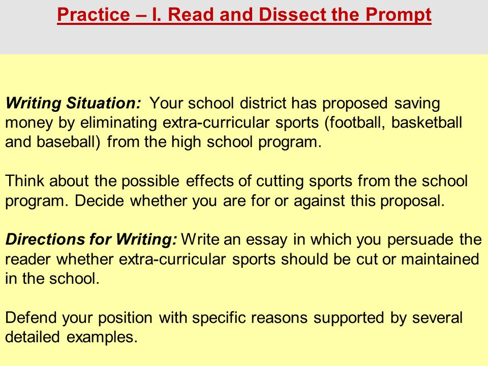 Writing Situation: Your school district has proposed saving money by eliminating extra-curricular sports (football, basketball and baseball) from the high school program.