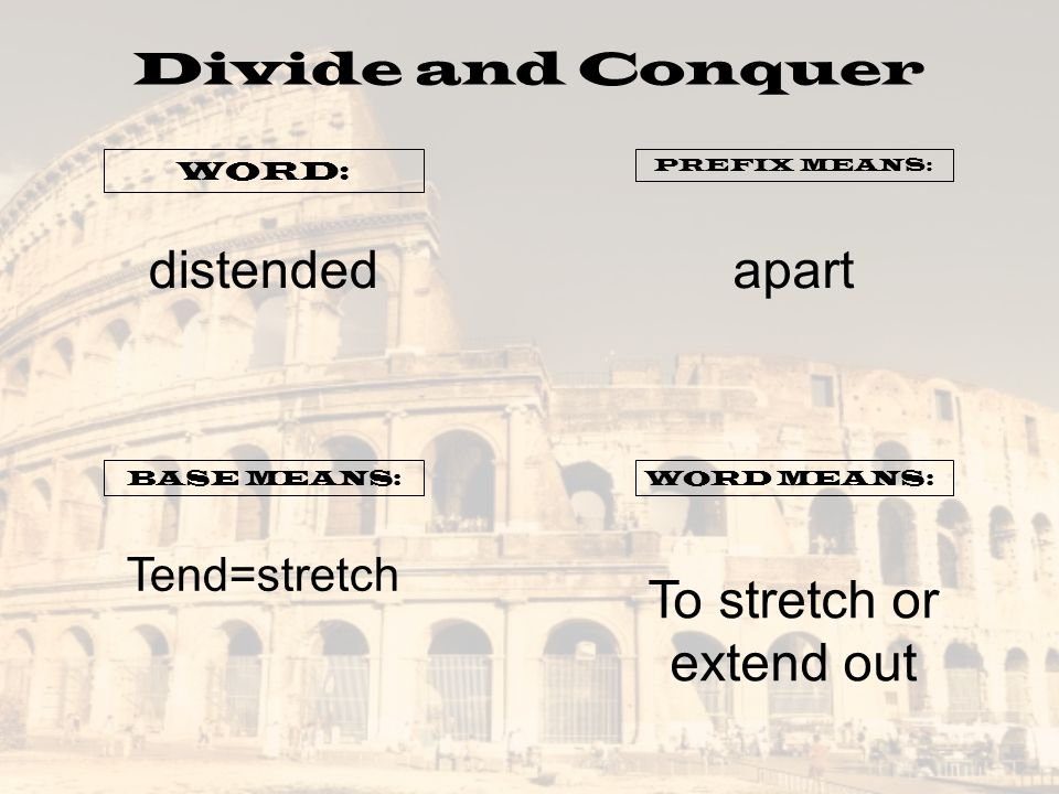 Divide and Conquer WORD: PREFIX MEANS: BASE MEANS:WORD MEANS: distendedapart Tend=stretch To stretch or extend out