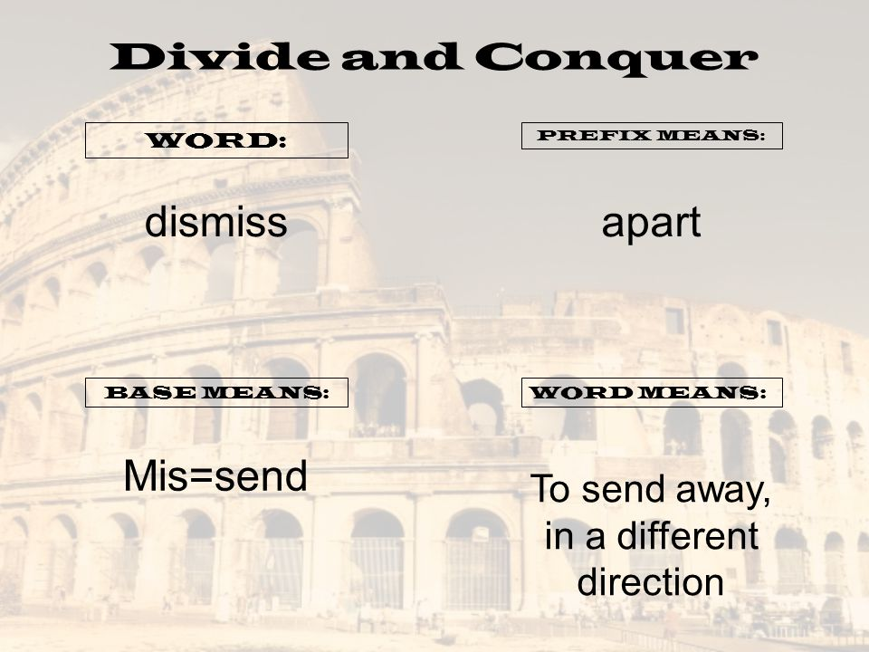 Divide and Conquer WORD: PREFIX MEANS: BASE MEANS:WORD MEANS: dismissapart Mis=send To send away, in a different direction