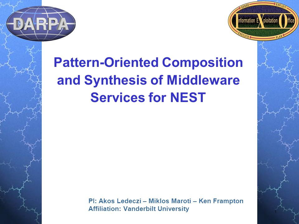 2 Administrative Project Title: Pattern-Oriented Composition and Synthesis of Middleware Services for NEST PM: Vijay Raghavan PI: Ákos Lédeczi PI phone # : (615) 343-8307 PI email: akos.ledeczi@vanderbilt.edu Institution: Institute for Software Integrated Systems, Vanderbilt University Contract #: 733615-01-C-1903 AO number: L538 Award start date: 6/2001 Award end date: 5/2005 Agent name & organization: Al Scarpelli, AFRL/IFTA
