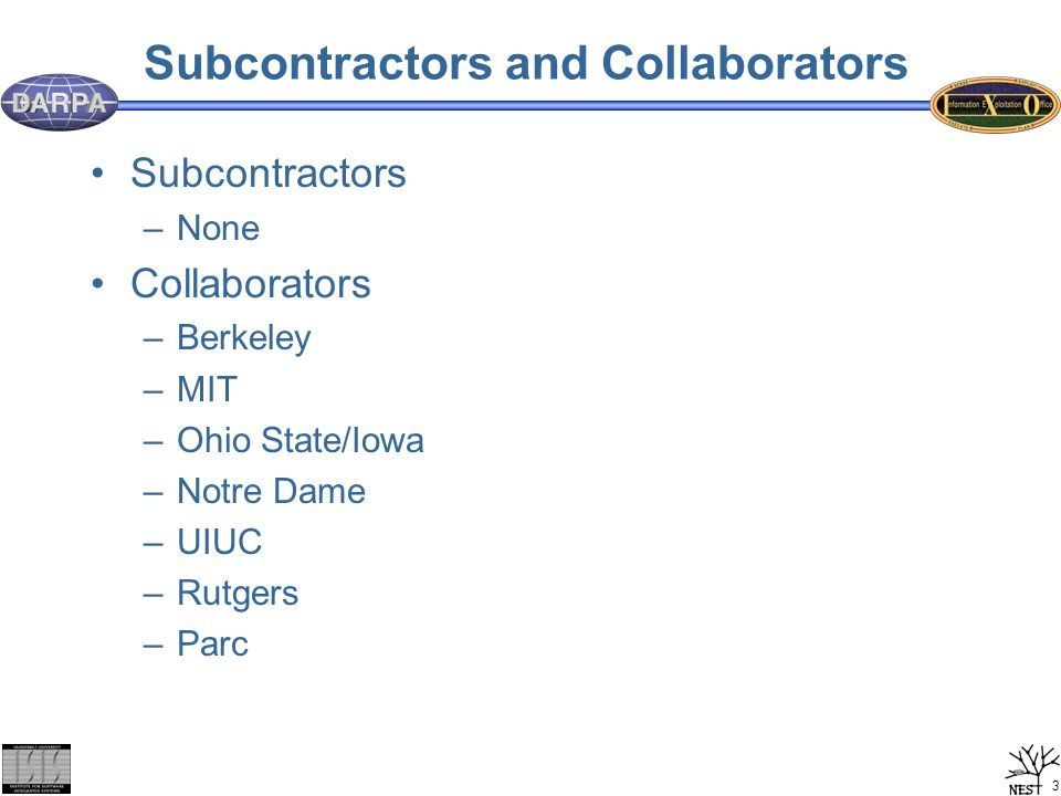 3 Subcontractors and Collaborators Subcontractors –None Collaborators –Berkeley –MIT –Ohio State/Iowa –Notre Dame –UIUC –Rutgers –Parc