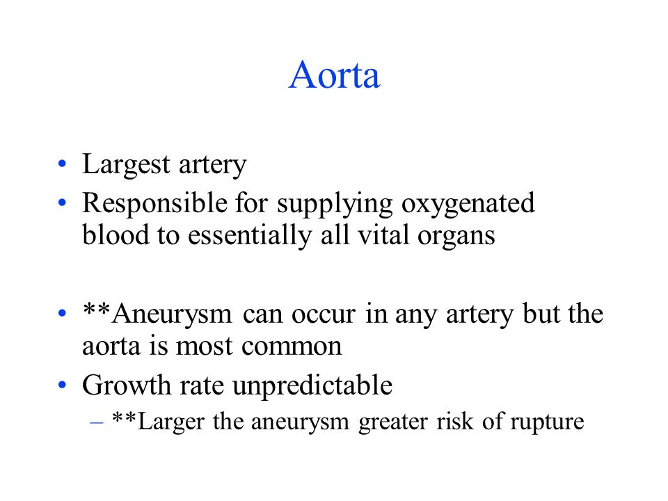 Aorta Largest artery Responsible for supplying oxygenated blood to essentially all vital organs **Aneurysm can occur in any artery but the aorta is mo