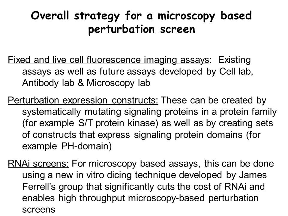 Fixed and live cell fluorescence imaging assays: Existing assays as well as future assays developed by Cell lab, Antibody lab & Microscopy lab Perturbation expression constructs: These can be created by systematically mutating signaling proteins in a protein family (for example S/T protein kinase) as well as by creating sets of constructs that express signaling protein domains (for example PH-domain) RNAi screens: For microscopy based assays, this can be done using a new in vitro dicing technique developed by James Ferrell's group that significantly cuts the cost of RNAi and enables high throughput microscopy-based perturbation screens Overall strategy for a microscopy based perturbation screen