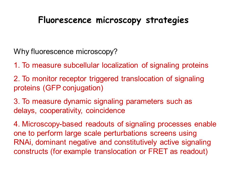 1.Measurements of dynamic systems parameters 2.Measurement protocols of sufficiently high throughput to dissect the modular structure of signaling network Single-cell fluorescence measurements are ideally suited for: 1.