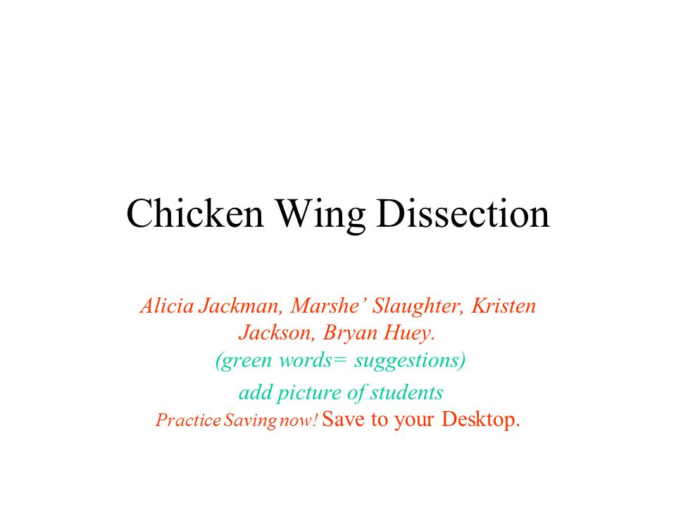 Chicken Wing Dissection Alicia Jackman, Marshe' Slaughter, Kristen Jackson, Bryan Huey. (green words= suggestions) add picture of students Practice Sa