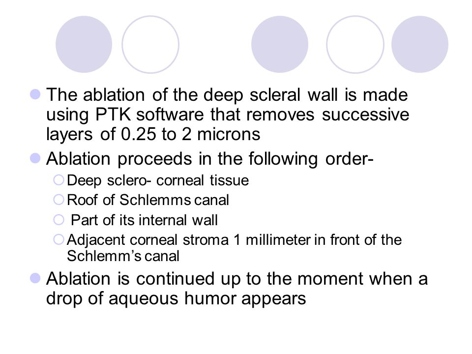 The ablation of the deep scleral wall is made using PTK software that removes successive layers of 0.25 to 2 microns Ablation proceeds in the following order-  Deep sclero- corneal tissue  Roof of Schlemms canal  Part of its internal wall  Adjacent corneal stroma 1 millimeter in front of the Schlemm's canal Ablation is continued up to the moment when a drop of aqueous humor appears
