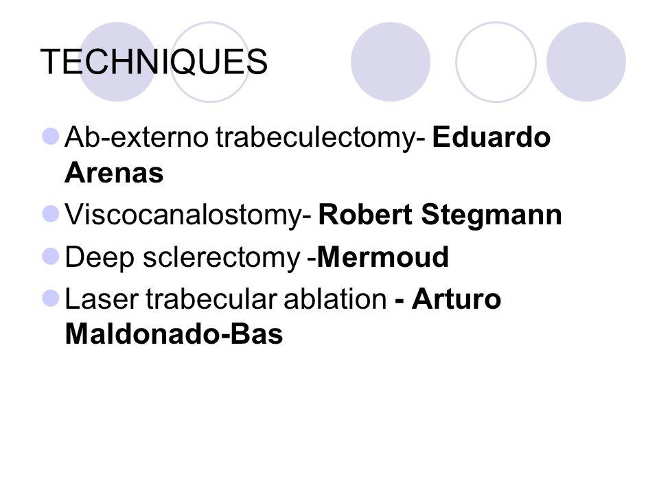 TECHNIQUES Ab-externo trabeculectomy- Eduardo Arenas Viscocanalostomy- Robert Stegmann Deep sclerectomy -Mermoud Laser trabecular ablation - Arturo Maldonado-Bas