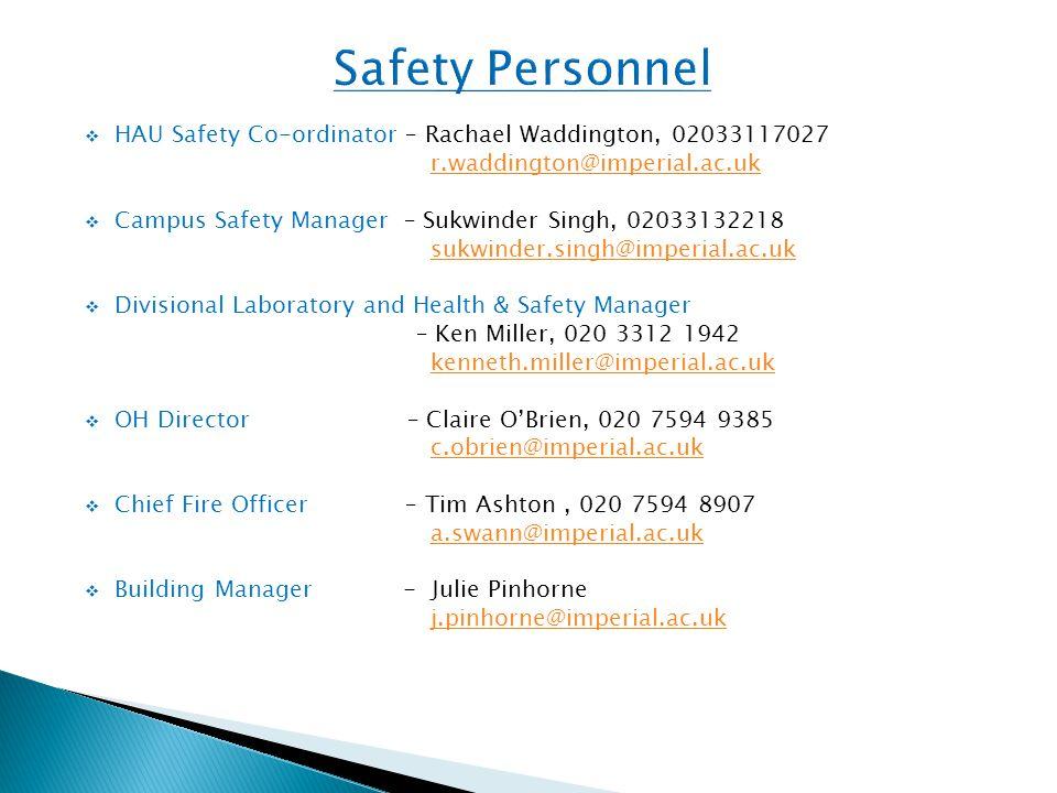  HAU Safety Co-ordinator – Rachael Waddington, 02033117027 r.waddington@imperial.ac.uk  Campus Safety Manager – Sukwinder Singh, 02033132218 sukwind