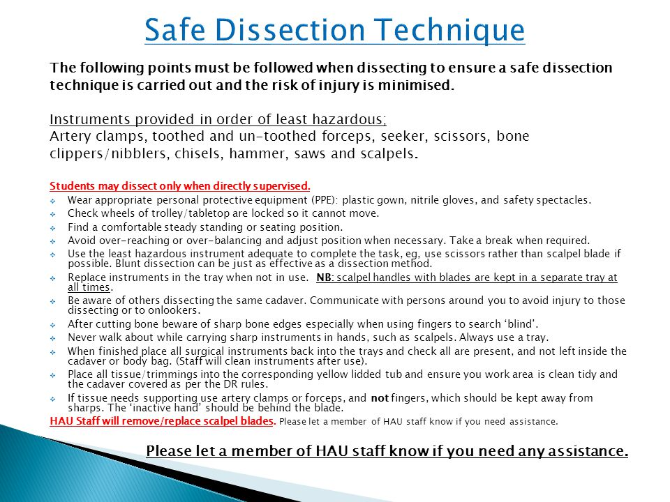 The following points must be followed when dissecting to ensure a safe dissection technique is carried out and the risk of injury is minimised. Instru