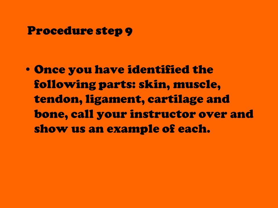 Procedure step 9 Once you have identified the following parts: skin, muscle, tendon, ligament, cartilage and bone, call your instructor over and show