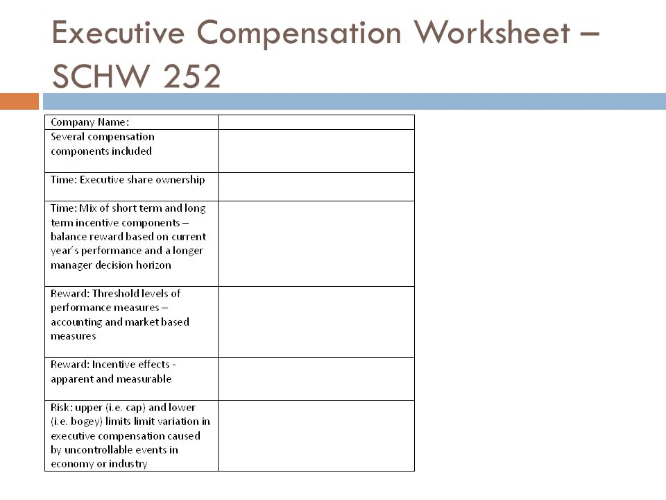 Executive Compensation Worksheet – SCHW 252