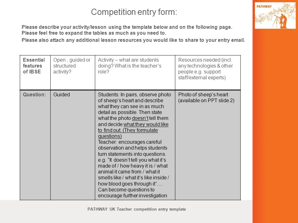 Competition entry form: Please describe your activity/lesson using the template below and on the following page. Please feel free to expand the tables