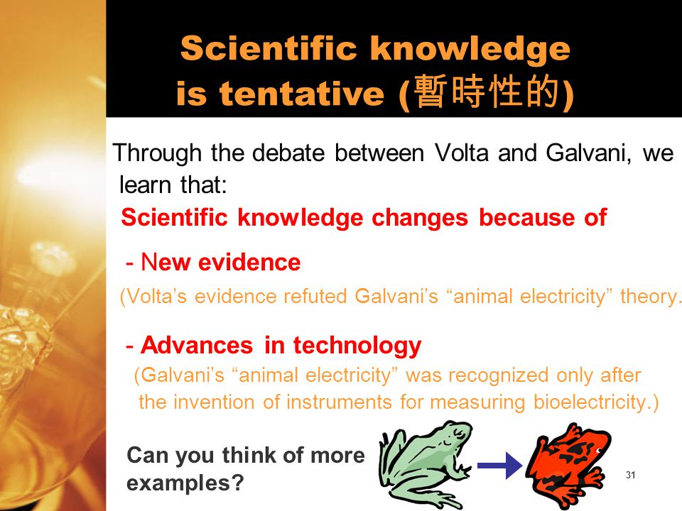 32 Through the debate between Volta and Galvani, we also learn that skepticism can drive the development of scientific research.