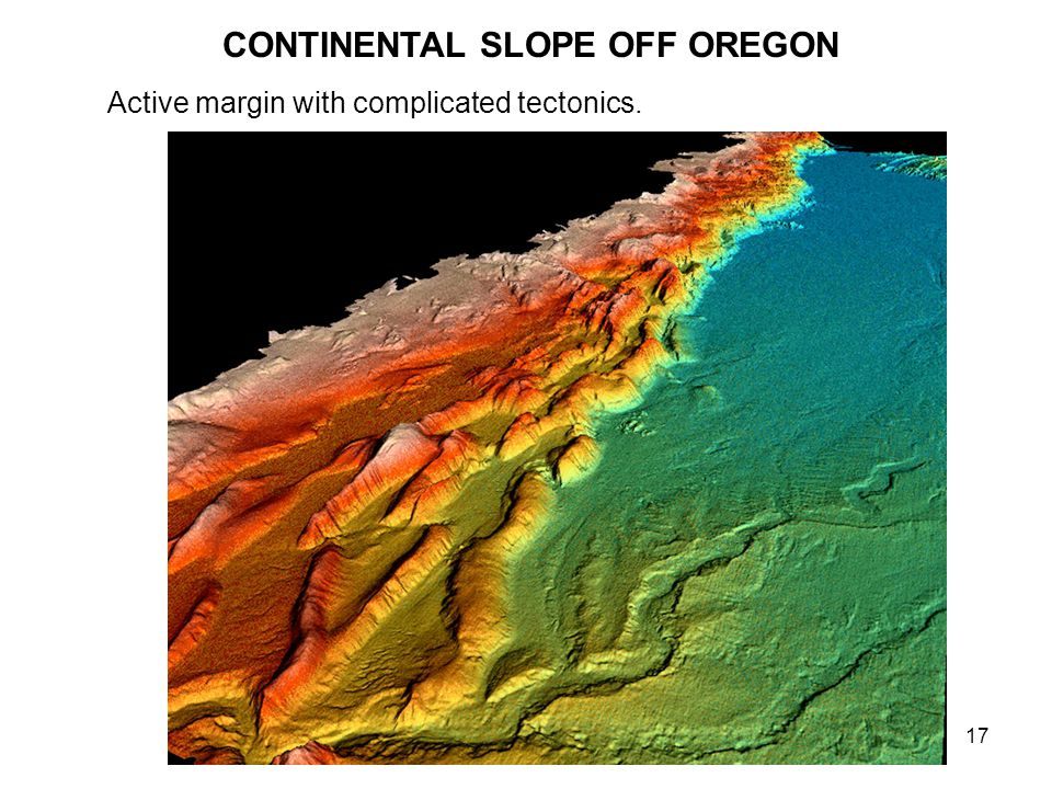 17 CONTINENTAL SLOPE OFF OREGON Active margin with complicated tectonics.