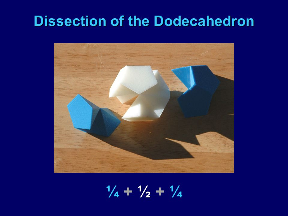 Dissection of the Dodecahedron ¼ + ½ + ¼