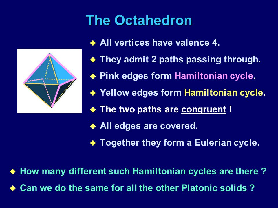 The Octahedron u All vertices have valence 4. u They admit 2 paths passing through. u Pink edges form Hamiltonian cycle. u Yellow edges form Hamiltoni