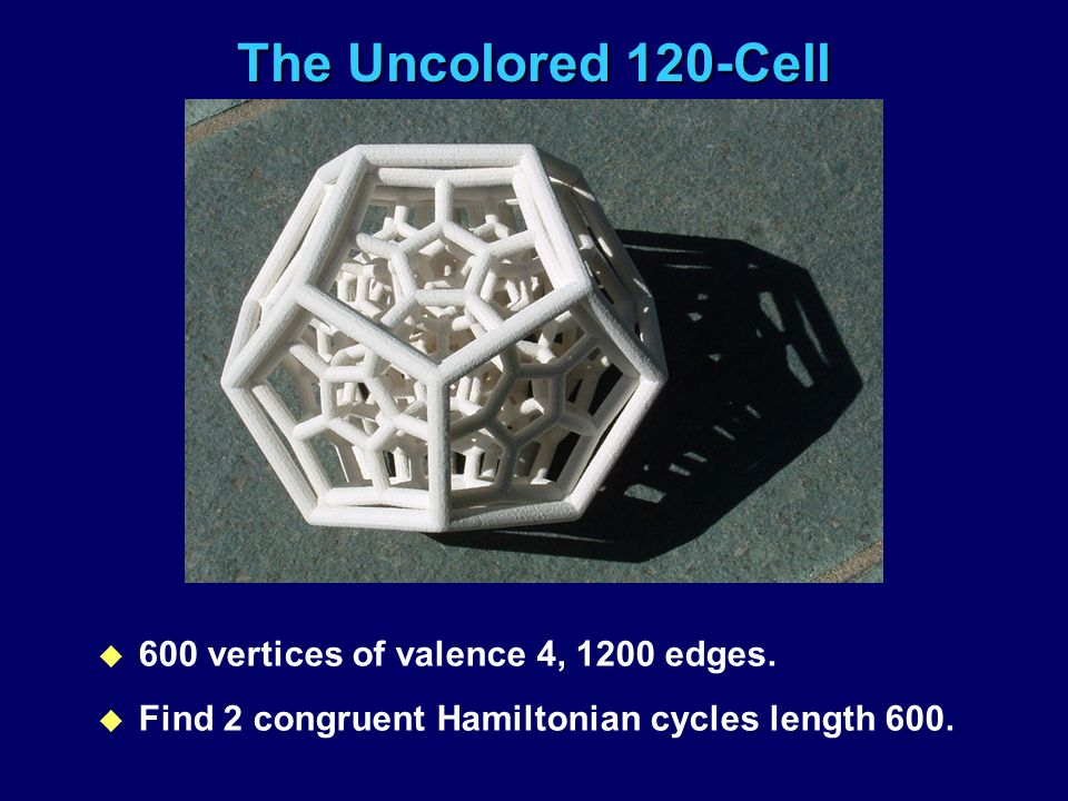The Uncolored 120-Cell u 600 vertices of valence 4, 1200 edges. u Find 2 congruent Hamiltonian cycles length 600.