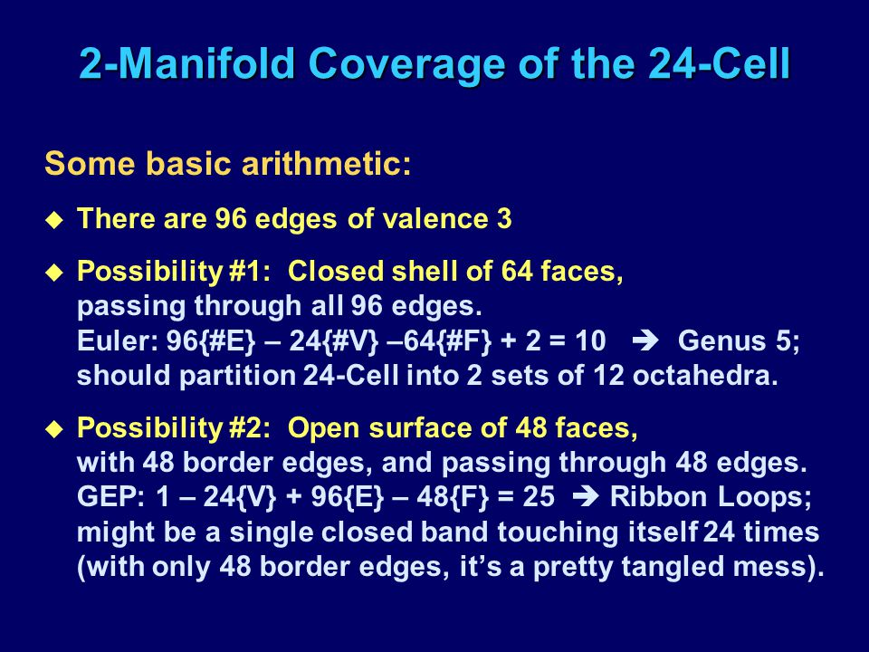 2-Manifold Coverage of the 24-Cell Some basic arithmetic: u There are 96 edges of valence 3 u Possibility #1: Closed shell of 64 faces, passing throug