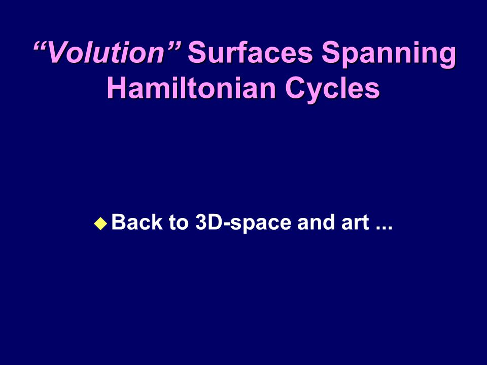 """Volution"" Surfaces Spanning Hamiltonian Cycles u Back to 3D-space and art..."