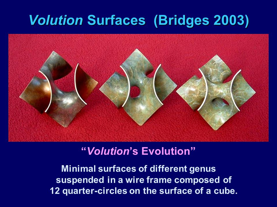 "Volution Surfaces (Bridges 2003) ""Volution's Evolution"" Minimal surfaces of different genus suspended in a wire frame composed of 12 quarter-circles o"