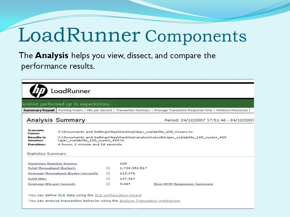 LoadRunner Components The Analysis helps you view, dissect, and compare the performance results.