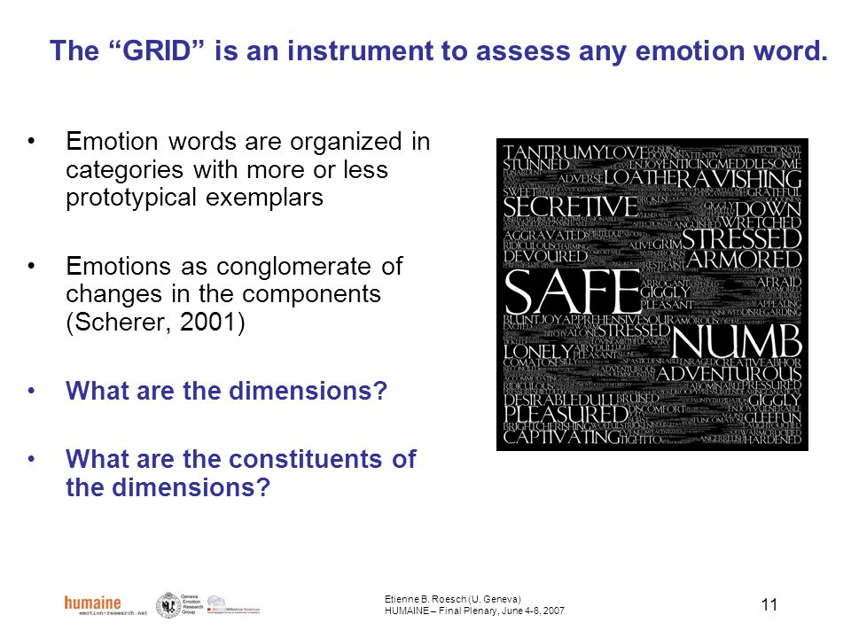 11 The GRID is an instrument to assess any emotion word.