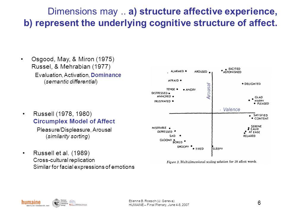 7 The Valence–Arousal model is an integrative model (Russell, & Feldman-Barrett, 1999 – Dissecting the Elephant) Etienne B.