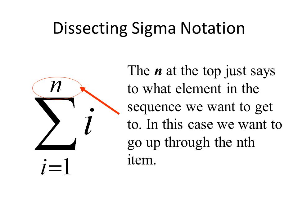 Dissecting Sigma Notation The n at the top just says to what element in the sequence we want to get to.