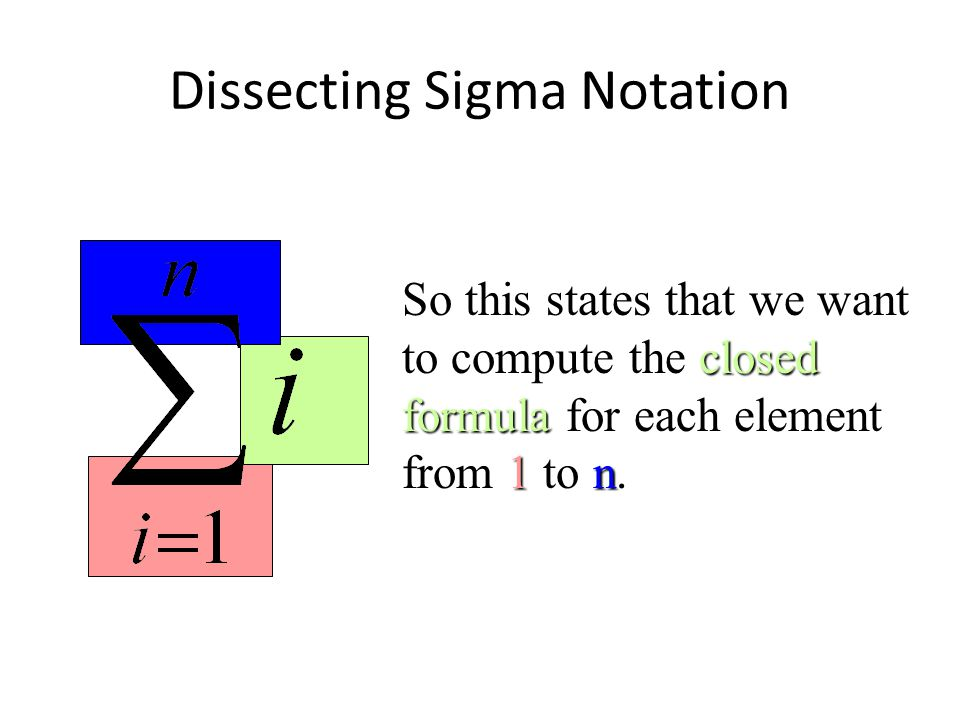Dissecting Sigma Notation closed formula 1n So this states that we want to compute the closed formula for each element from 1 to n.