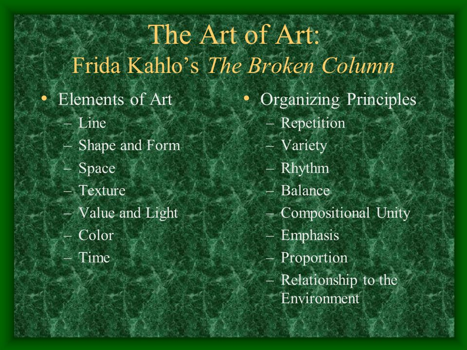 Frida Kahlo's The Broken Column, 1944 In order to make these art pieces fit into our format, we need to select art from which we can readily draw a theme.