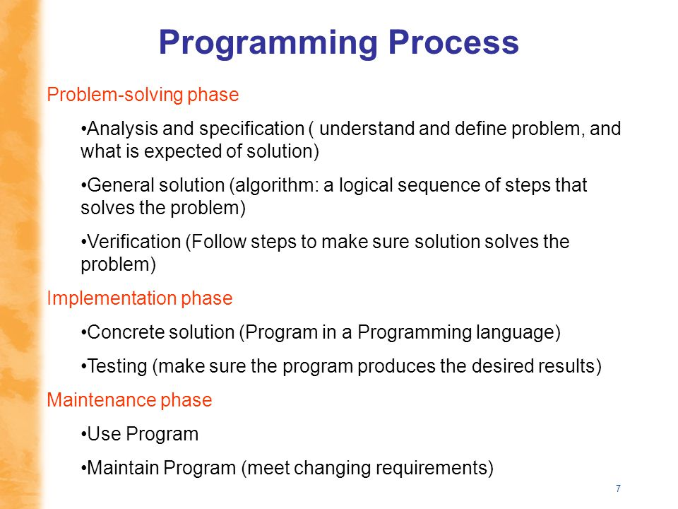 7 Problem-solving phase Analysis and specification ( understand and define problem, and what is expected of solution) General solution (algorithm: a l