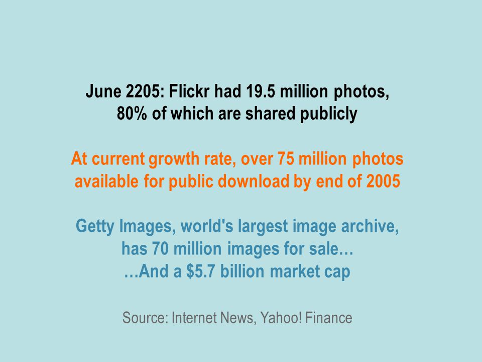 June 2205: Flickr had 19.5 million photos, 80% of which are shared publicly At current growth rate, over 75 million photos available for public download by end of 2005 Getty Images, world s largest image archive, has 70 million images for sale… …And a $5.7 billion market cap Source: Internet News, Yahoo.