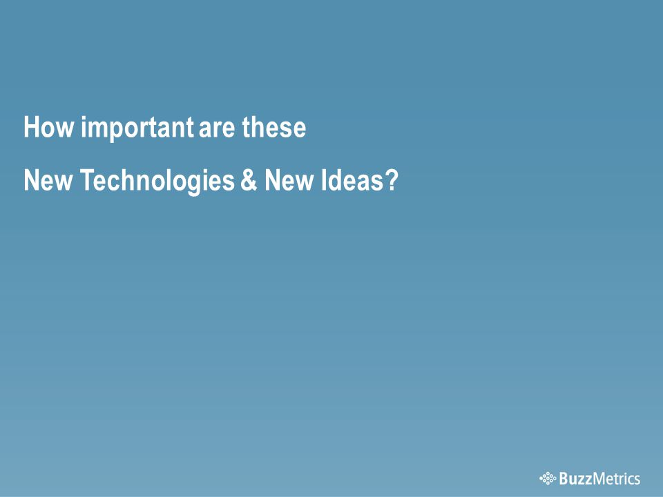 How important are these New Technologies & New Ideas
