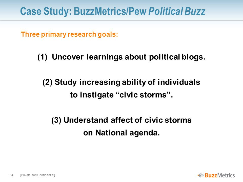 [Private and Confidential]34 Case Study: BuzzMetrics/Pew Political Buzz Three primary research goals: (1) Uncover learnings about political blogs.